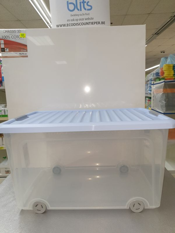 BOX 35L KIZZ op wieltjes/blauw deksel ca55x35xH28cm